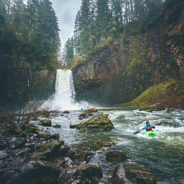 """James: """"Did you get it?"""" Caleb: """"Duuuude I think I pressed it just a little late - take a look."""" . . . . . 📷 @calebwallace #inwaterwelive #weareoutthere #kayaking #waterfall #whitewater #oregon"""