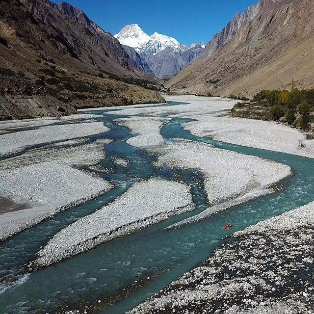 """David Sodomka: """"Hushe river was low but the views of Masherbrum were epic. The Hushe valley is the starting point of the famous Concordia trek that goes to K2 base camp."""" . . . . #inwaterwelive #weareoutthere #pakistan #whitewater #k1 #masherbrum #hushe"""