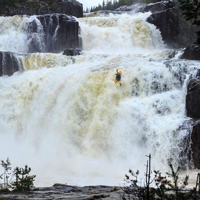 @honza_havelka_ on Strawberry waterfall, Norway. . . . . . . . . #inwaterwelive #weareoutthere #whitewater #kayaking #waterfalling #norway