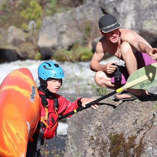 """""""You just get off the ledge right there...and smile"""" - yesterday's demo day was not short of young talent . . . . . . #inwaterwelive #hikodemotour #weareoutthere #hikoteam #whitwaterkayaking #youngguns #kayaking #paddling #coaching"""