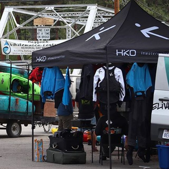 @bigforkwhitewaterfestival is ON!...and so is our demo! First booth behind the bridge, right by the can bins;) . . . . . #inwaterwelive #weareoutthere #hikodemotour #whitewaterkayaking #whitewaterfestival #paddling #montana #bigfork #swanriver