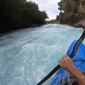 When you nail Huka Falls for the first time and instead of celebrating you are looking for scoreboard to check your time #slalomhabits 😀 @ondrejtunka . . . . . . . #inwaterwelive #weareoutthere #newzealand #whitewater #czechcanoe